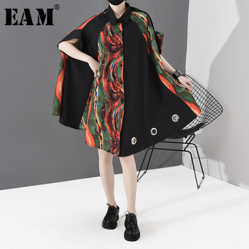 [EAM] Women Pattern Printed Hollow Out Big Size Shirt Dress New Lapel Half Sleeve Loose Fit Fashion Spring Autumn 2020 1S533