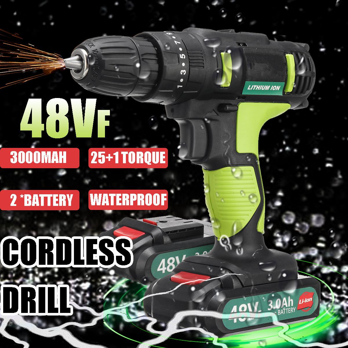 2 In 1 Electric Drill 48VF 2-Speed Cordless Waterproof Electric Screwdriver 25+1 Torque Power Tools With Rechargeable Battery