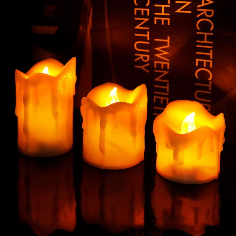 Flameless Votive Candles Battery Operated Flickering LED Tea Light Set Of 3