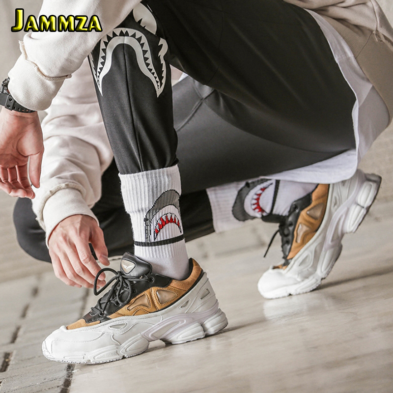 Fashion Shark Hip Hop Socks Men And Women Long Cartoon Socks Hiphop Street Sport Skateboard Black White Crew Socks