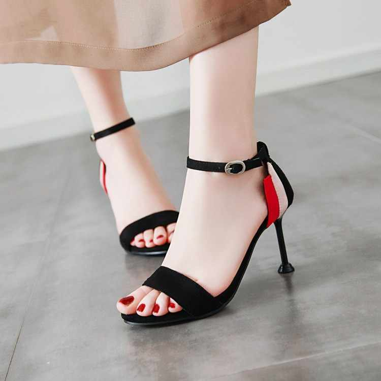Plus Kích Thước Cao Gót Nữ Giày Nữ Người Phụ Nữ Mùa Hè Nữ Tinh Gót Màu Hở Mũi Giày