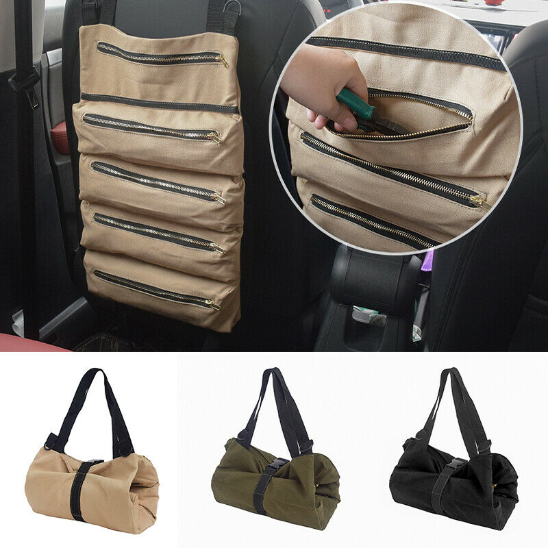 Practical Multi-Purpose Tool Roll Up Canvas Storage Bag Wrench Roll Pouch Hanging Tool Zipper Carrier Tote Organizer