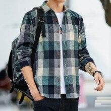 Camisa xadrez masculina camisa de manga comprida casual social magro camisa masculina de algodão camisas de vestido 4xl 5xl legível