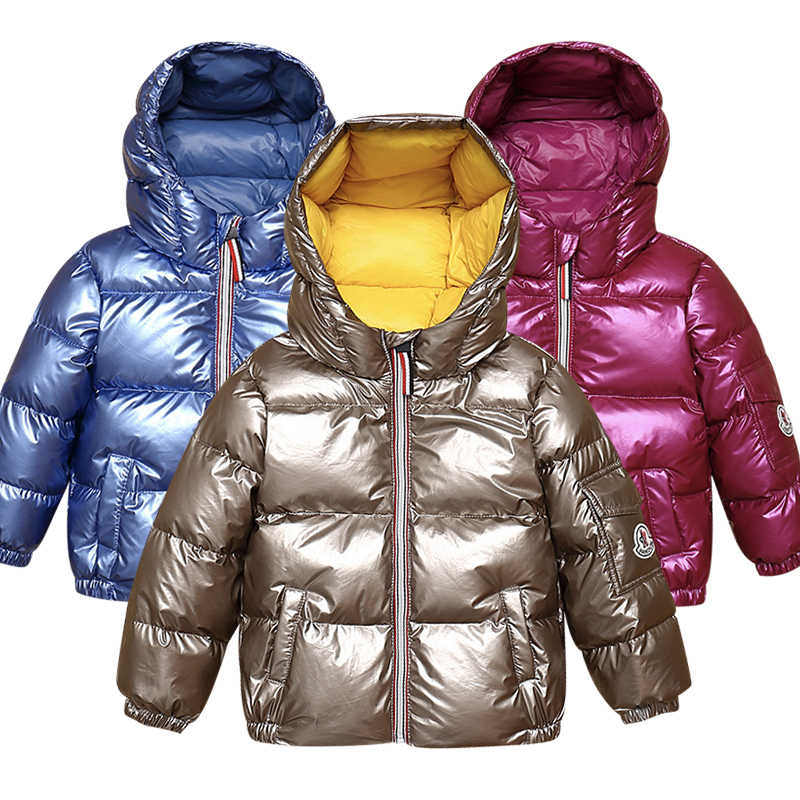 Winter children's baby down jacket boy girl bright face hooded down jacket kids white duck down coat 2019 new