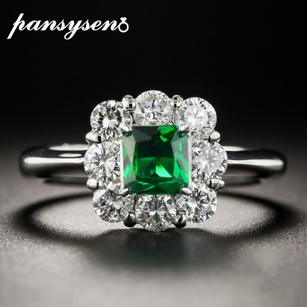 PANSYSEN Solid Silver 925 Jewelry Emerald gemstone Rings For Women Anniversary Wedding Engagement Ring Wholesale Gifts Size 6-10