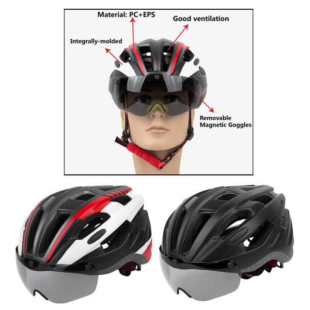 Фото шлем для езды на велосипеде со съемным козырьком очки взрослых цена