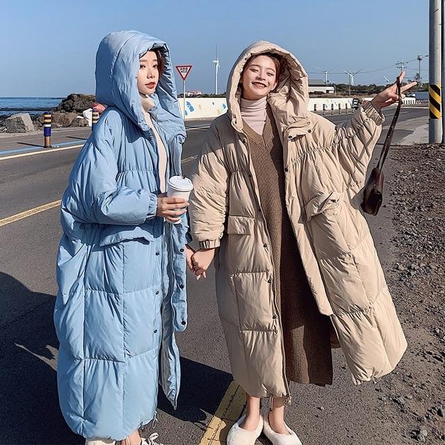 Invierno sobre la rodilla X long bat manga de algodón abrigo femenino suelto de gran tamaño chaqueta gruesa Chaqueta de algodón mullido f272 - 6