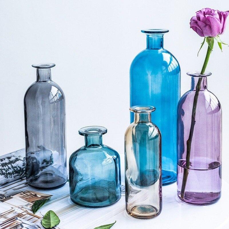 קלאסי Multicololr זכוכית אגרטלים עציץ סל בקבוקי קישוט בית נורדי מיובש שקוף הידרופוני קטן בקבוקים