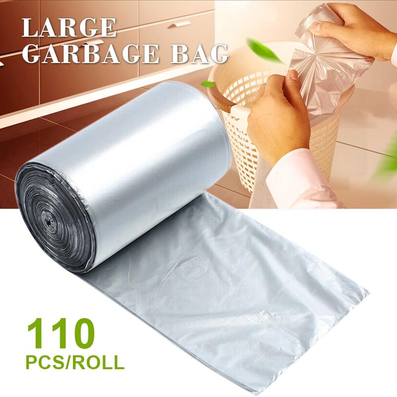 110pcs/roll Disposable Plastic Bag Rubbish Home Waste Trash Bag Kitchen Bedroom Bath Rubbish Garbage Bag Storage Container|Trash Bags| |  - title=