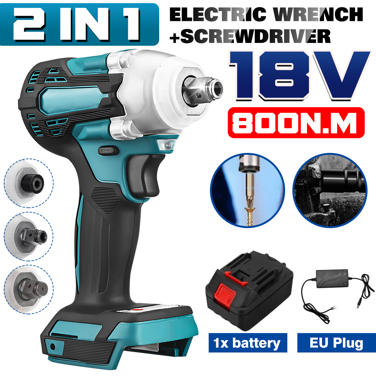 2 In1 18V 800N m  Li-Ion Brushless Cordless 1 4   Electric Screwdriver 1 2  Electric Wrench Combine Fit For Makita 300Battery