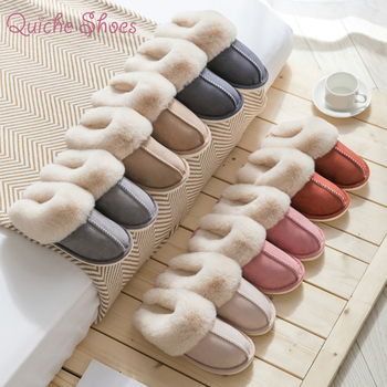 2020 New Women Indoor Slippers Warm Plush Home Slipper Anti Slip Autumn Winter Shoes House Floor Soft Slient Slides image