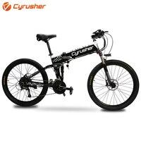 Cyrusher dobrável bicicleta elétrica e bicicleta 48 v 500 w 12.8ah dupla absorção de choque bicicleta eletrônica com display lcd inteligente xf770