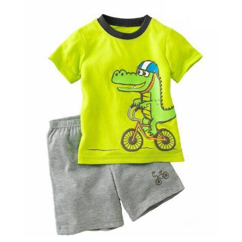 TUONXYE Children's Cute Crab Design Nightwear Boys Short Sleeve Pajamas Set Kids Pijama for Summer Home Wear Clothing 6