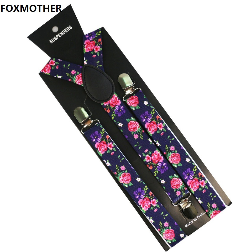 FOXMOTHER Flower Floral Print Mens Womens Unisex Clip-on Suspenders Unisex Elastic Y-Shape Braces