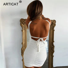 Articat Sexy Ruches Spaghetti Band Jurken Backless Lace Up Bodycon Rood Mini Jurk Vrouwelijke Club Party Wear Vestidos(China)