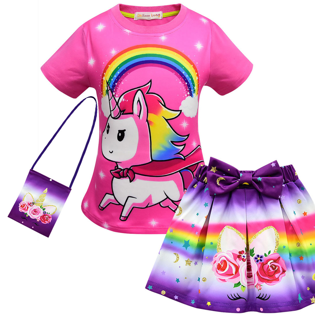Girls Suits 2019 Summer Style Kids Beautiful Unicorn Children OF-neck Clothing Short Skirt Suit With Bag 3Pcs Christmas Clothes