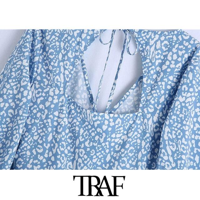 TRAF Women Chic Fashion Animal Print Ruffle Mini Dress Vintage Backless Bow Tied Side Zipper Female Dresses Vestidos 6