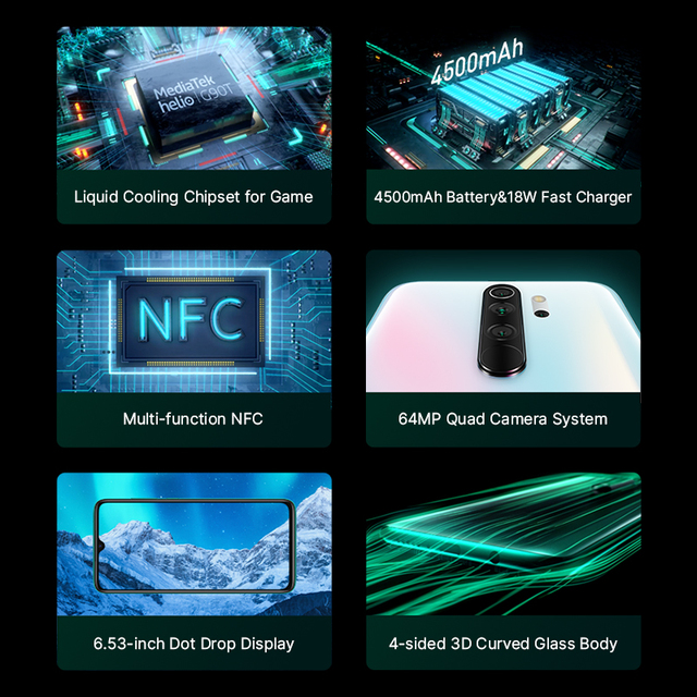 Global Version Xiaomi Redmi Note 8 Pro 6GB 64GB Mobile Phone 64MP Quad Camera MTK Helio G90T Octa Core Smartphone 4500mAh NFC 2