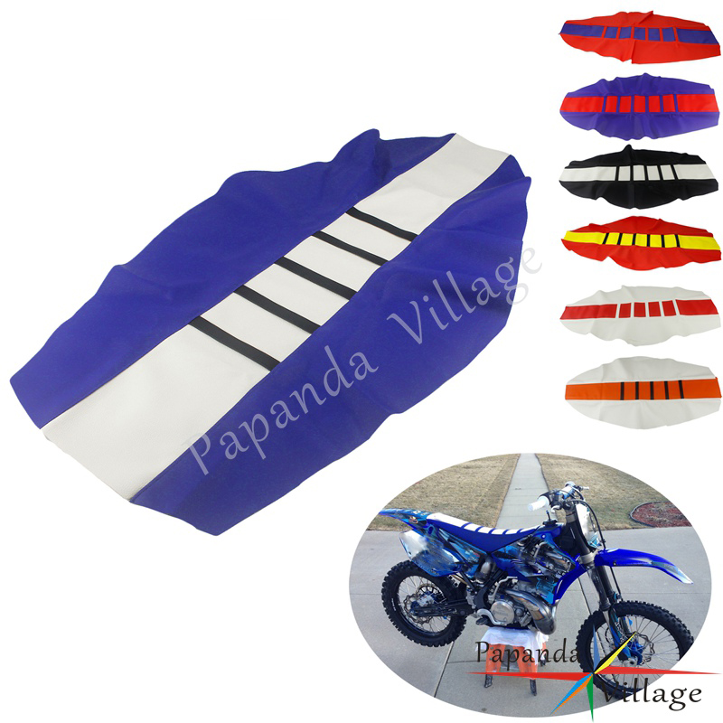 Белого и синего цвета Dirt Pit Bike ребристые захват Седельно-сцепное устройство Крышка для Yamaha YZ YZF WR YZ-X YZ-FX WRF TTR 85 125 250 450 TE TX TC