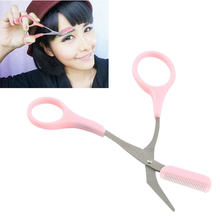 Girl Lady Pink Eyebrow Trimmer Eyelash Thinning Shears Comb Eyelash Hair Clips Scissors Shaping Eyebrow Grooming Cosmetic Tool(China)