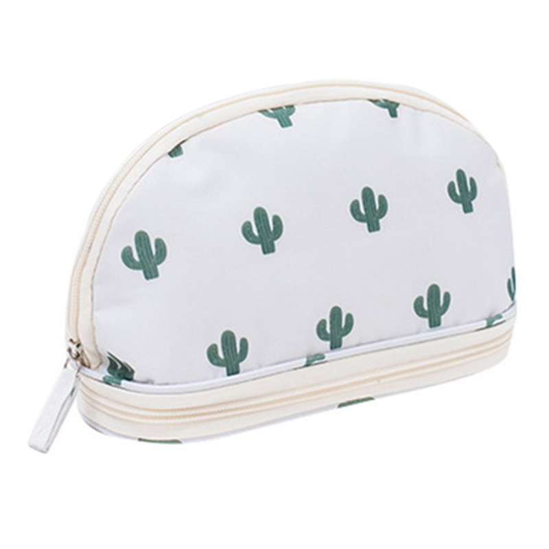 Portable Cosmetic Bag Double Layer Travel Makeup Pouch Bags Circular Woman Make Up Bag