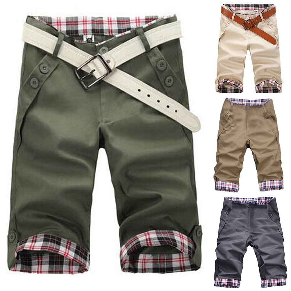 2020 Summer Men's Baggy Pocket Cargo Shorts Male Khaki Mens   Fitness Shorts Breathable Short Pants No Belt