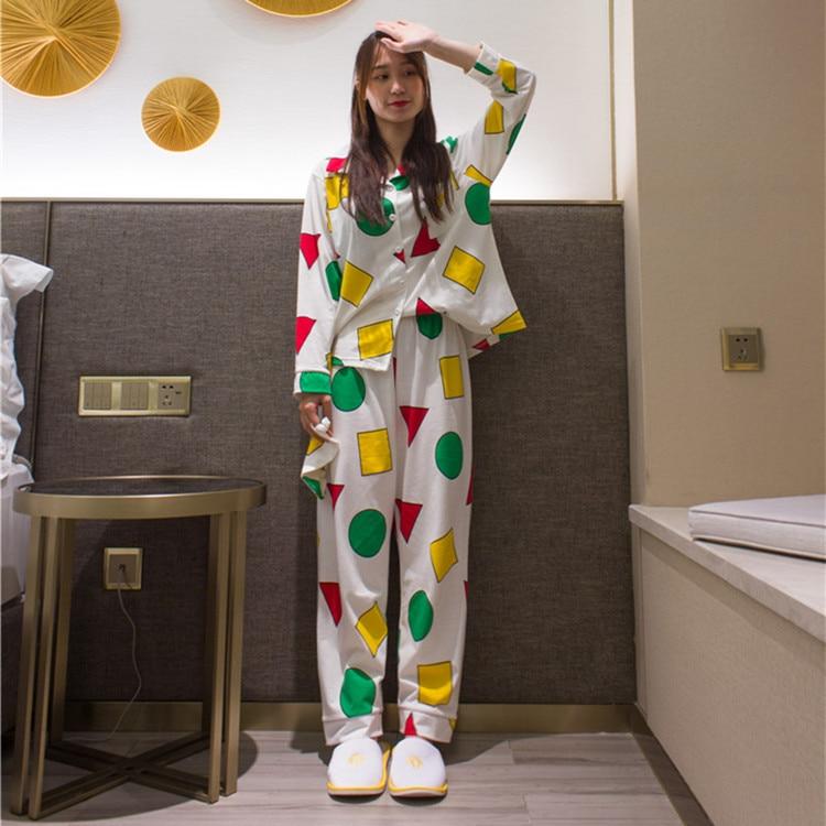 Crayon Celebrity Style Pajamas Women's Autumn Cardigan Fold-down Collar Long Sleeve Students Cartoon Homewear Set