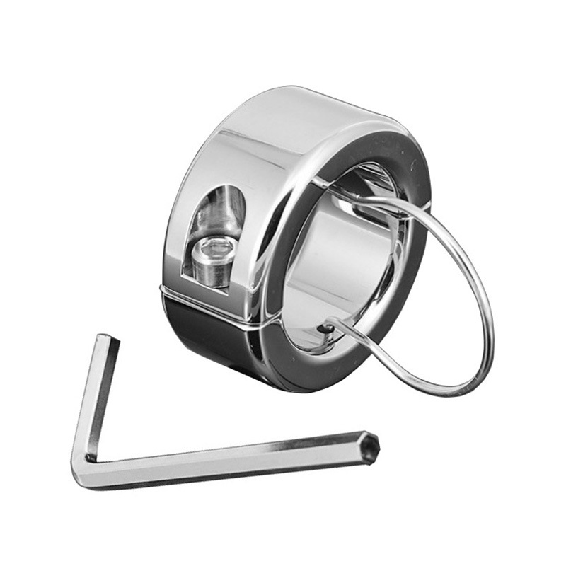 In dia 38mm 275g Stainless Steel metal pendant Ball Testicle Stretcher Penis Cock Ring Lock Scrotum adult game <font><b>CBT</b></font> <font><b>sex</b></font> <font><b>toys</b></font> men image