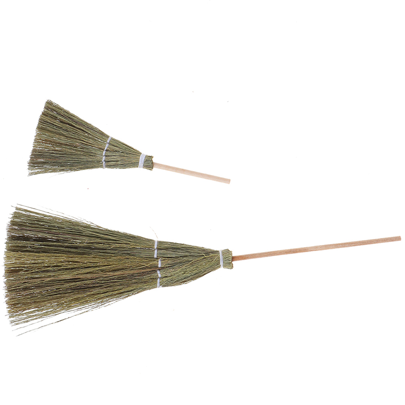 1pc 1:12 Dollhouse Miniature Fairy Garden Broom Cleaning Tools S/L Size