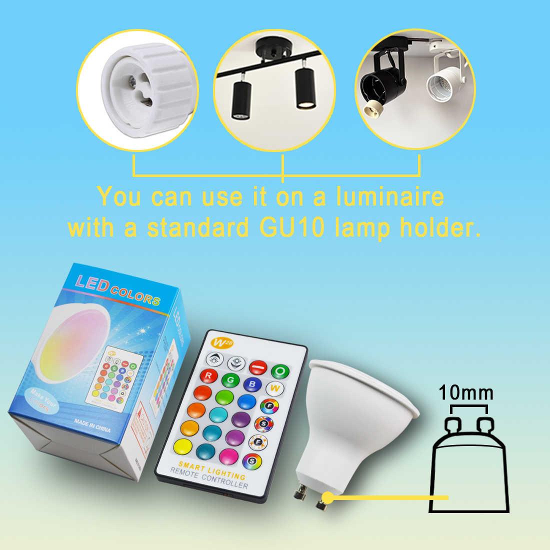 GU10 Светодиодный точечный светильник 8 Вт RGB + белый светильник, лампа 220 В 110 В, светильник с регулируемой яркостью для украшения дома, светильник, меняющий цвет, чашка + ИК-контроль