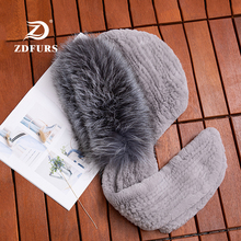 ZDFURS *2019 New Women Rex Rabbit Fur Scarves with Silver Fox Strips Winter Warm Hat Scarf Fashion Girls Russian Snow