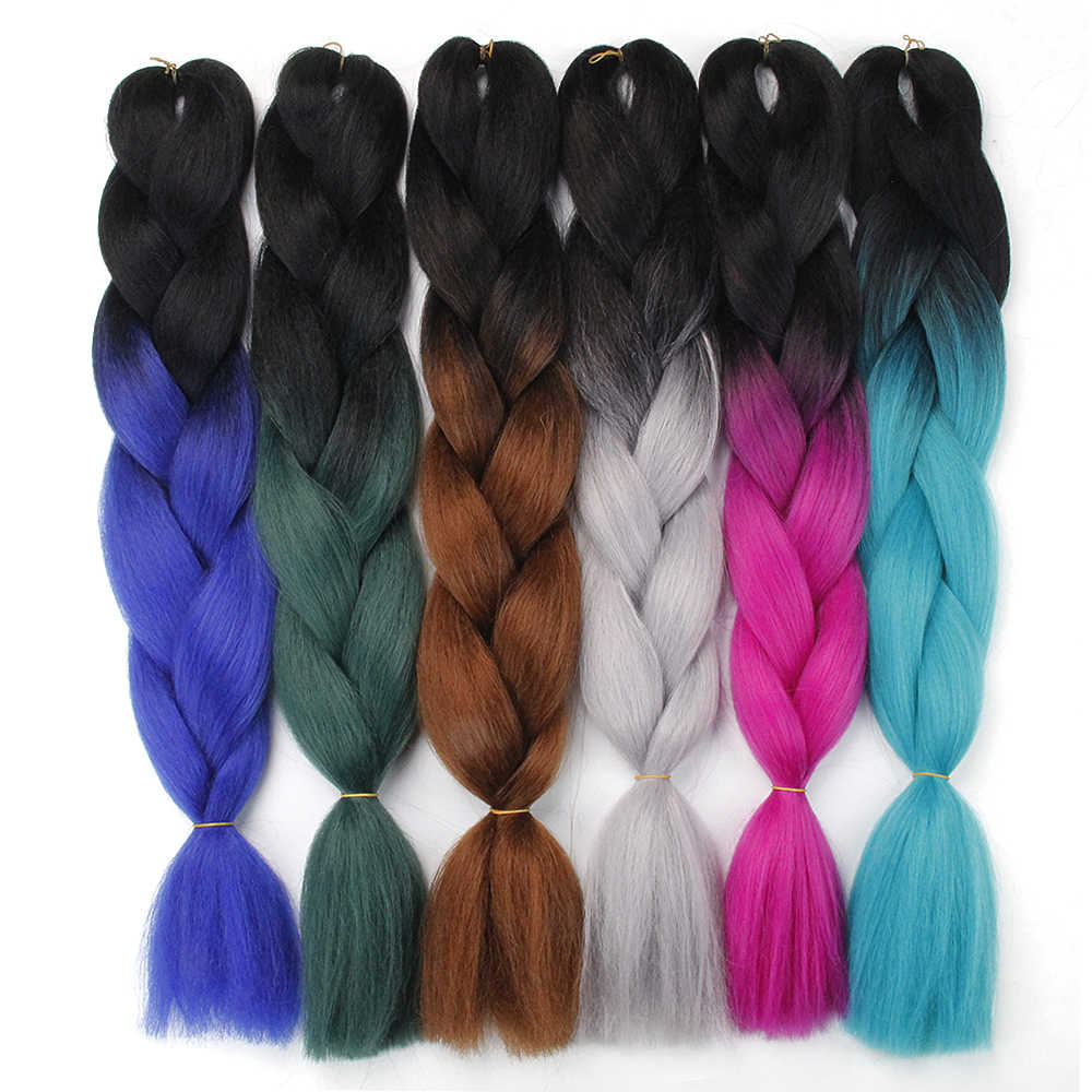 synthetic braiding hair extensions hair 100g/Pack 24 inches Xpression jumbo braid crochet hair braid Kanekalon Ombre