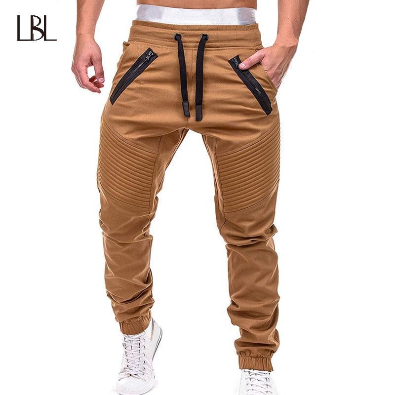 Брюки-карго штаны для бега для мужчин на каждый день брюки, облегающие джинсы-карандаши голубого цвета Мужская мода хлопок Slim Fit Брюки мужск...