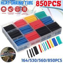 850 pçs/caixa conjunto de tubo do psiquiatra do calor que encolhe a isolação sortidas do polyolefin sleeving cabo de fio da tubulação do psiquiatra do calor 2:1