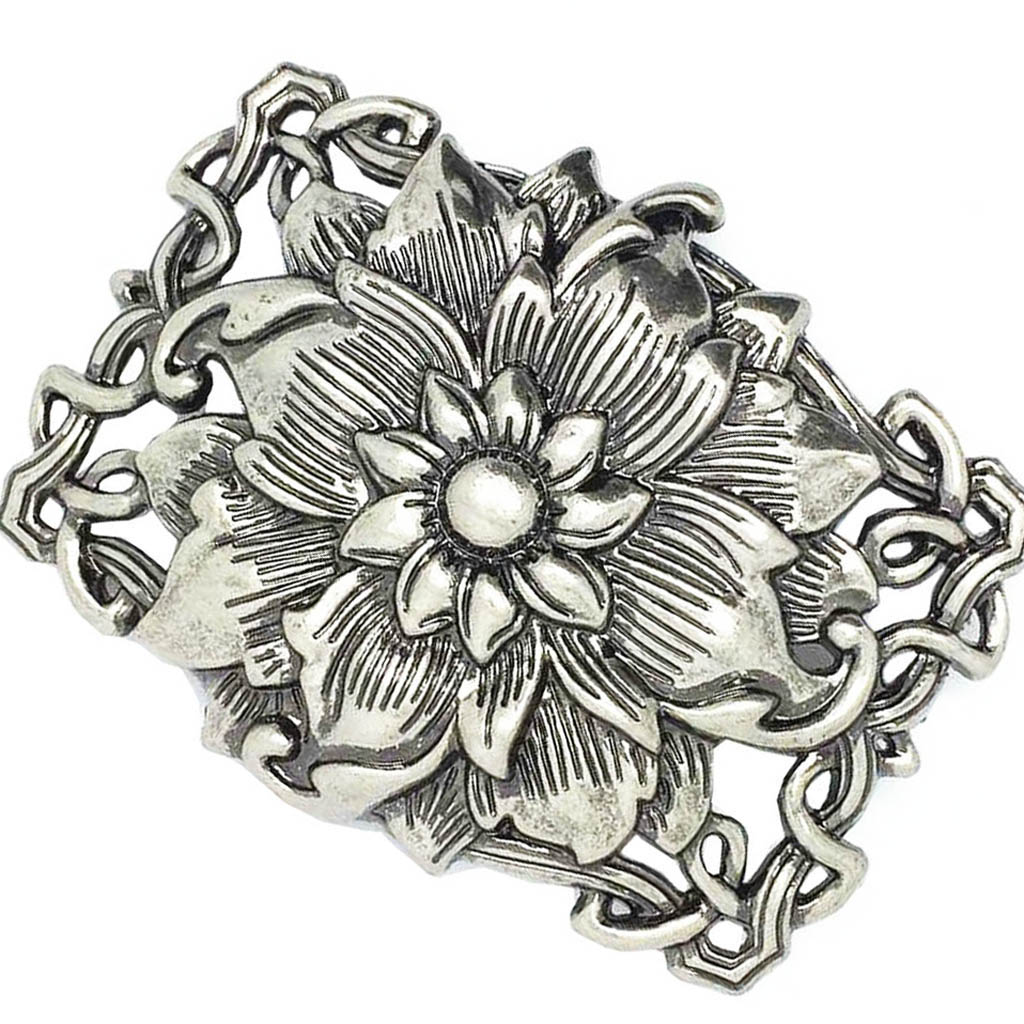 Vintage 3D Lotus Flower Belt Buckle Buddha Zinc Alloy Rodeo Cowgirl Retro
