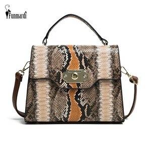 Image 1 - FUNMARDI VINTAGE Serpentineไหล่กระเป๋าล็อคFLAPกระเป๋าความคมชัดสีผู้หญิงกระเป๋างูRetro Crossbodyกระเป๋าWLHB2031