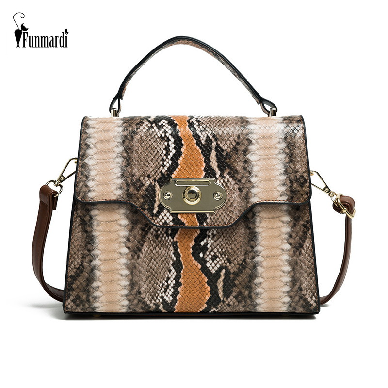 FUNMARDI Vintage Serpentine Shoulder Bag Lock Design Flap Bags Contrast Color Women Bag Snake Retro Brand Crossbody Bag WLHB2031