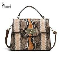 FUNMARDI Vintage Serpentine Shoulder Bag Lock Design Flap Bags Contrast Color Women Snake Retro Brand Crossbody WLHB2031