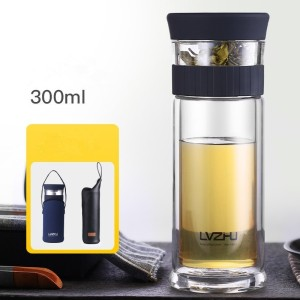 Image 3 - 300ml/400ml Portable Double Wall Borosilica Glass Tea Infuser Bottle of Water with Lid Filter Automobile Car Cup Creative Gift