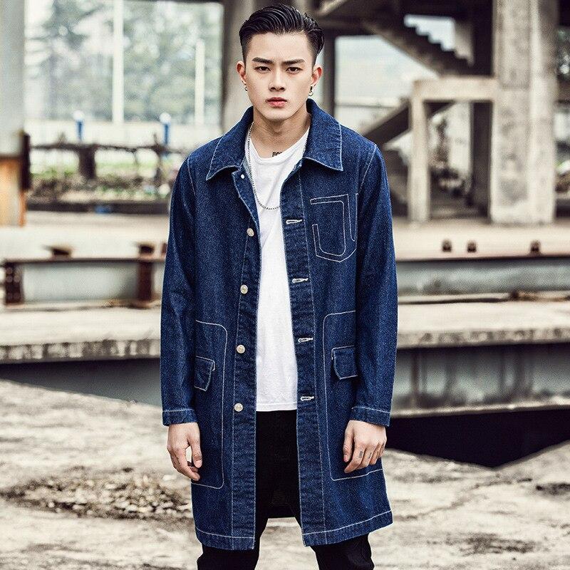 Japanese Men's Single Breasted long denim casual jackets coats masculine vintage overcoats Windbreaker streetwear   trench