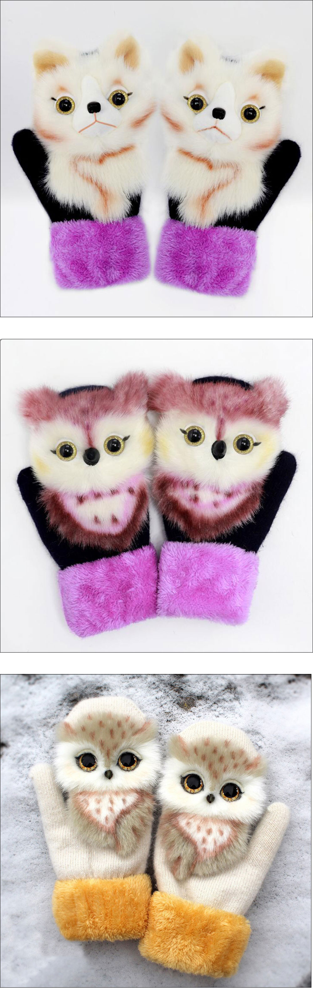 2021 New Cartoon Plush Knitted Gloves