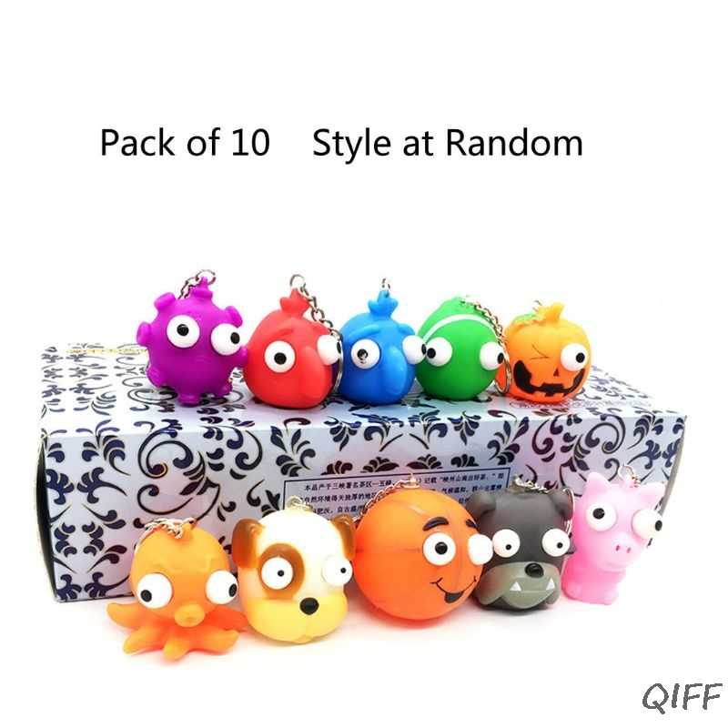 10Pcs Soft Squeeze Toy Pop Out Eyes Doll Novelty Stress Relief Animal Keychains