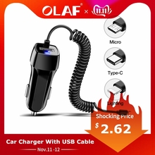 Car Charger With USB Cable Mobile Phone Charger