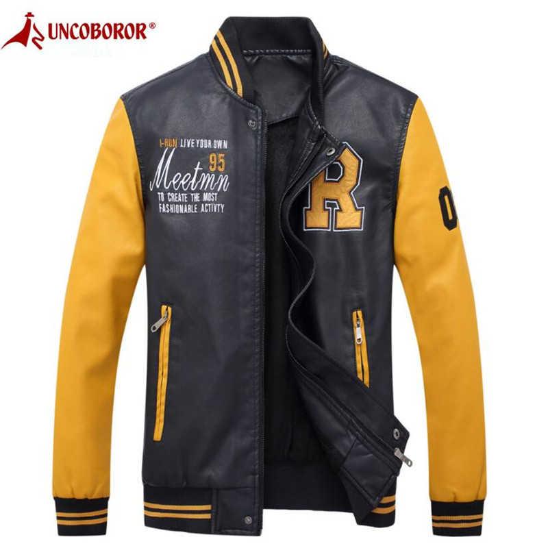 オートバイの革のジャケット男性刺繍野球 Pu レザーコートカジュアルスリムフィットカレッジ高級フリースパイロット革ジャケット
