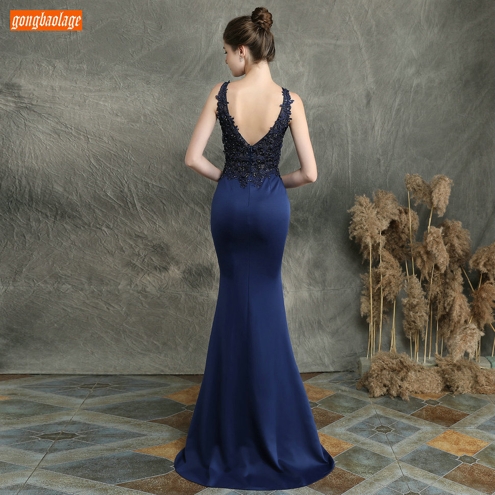 Sexy Dark Navy Long Evening Dresses V Neck Lace Appliqued Beaded Mermaid Formal Dress Women Party Slim fit Pageant Evening Gowns - 2