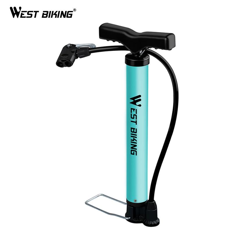 WEST BIKING 120 PSI велосипедный Напольный Воздушный насос сверхлегкий MTB стальной велосипедный насос портативный велосипедный мяч Basketabll Тип велос...