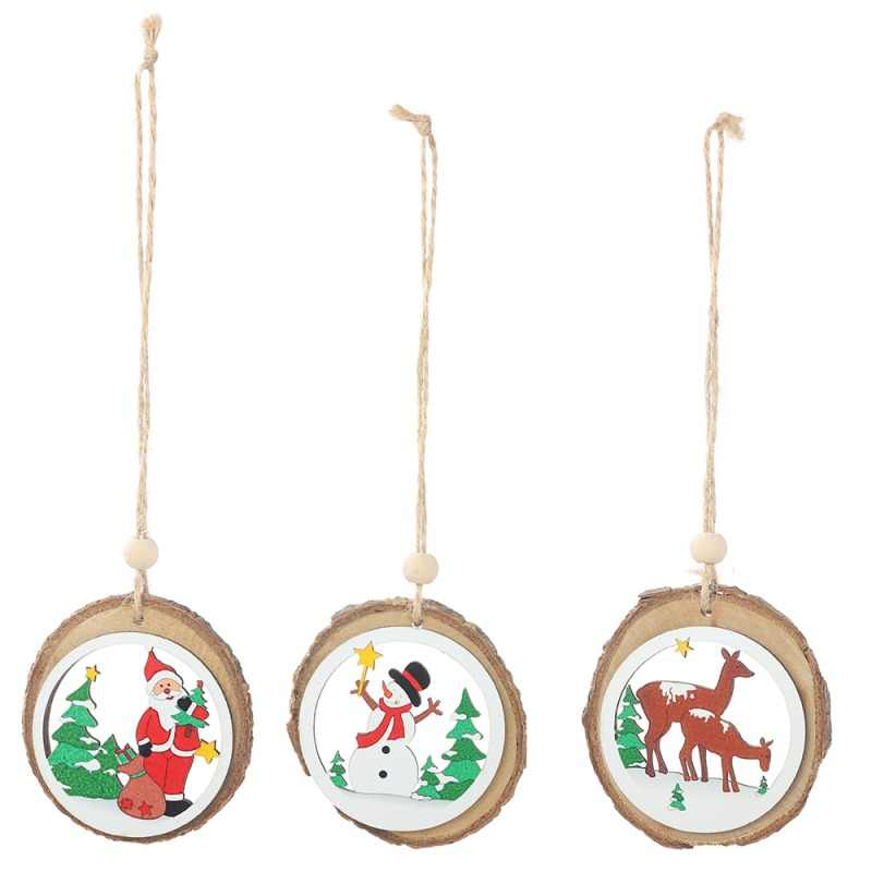 Round Kayu Alami Potongan Liontin Pohon Natal Aksesoris Menggantung Ornamen untuk Liburan Natal Dekorasi Pesta