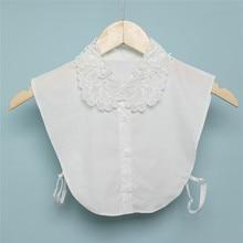 Top Shirt Accessories Detachable-Collars Blouse Lapel Black White Women Solid
