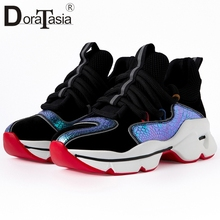 DORATASIA Brand New Sneakers Luxury Genuine Leather Colorful Flat Platform Shoes Woman Casual Soft Lace Up Flats Women