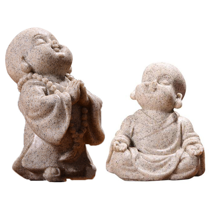 Tailândia chinesa maitreya buda estatuetas bonito monge estátua de arenito artesanato adorável estatueta ornamento casa decoração presente artesanato